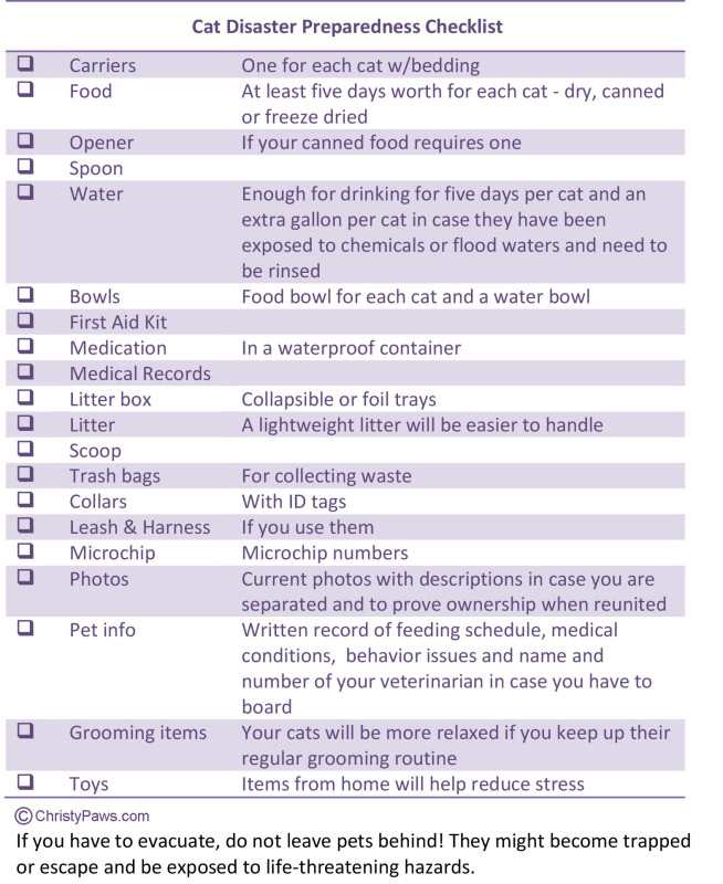 Cat Disaster Preparedness Checklist