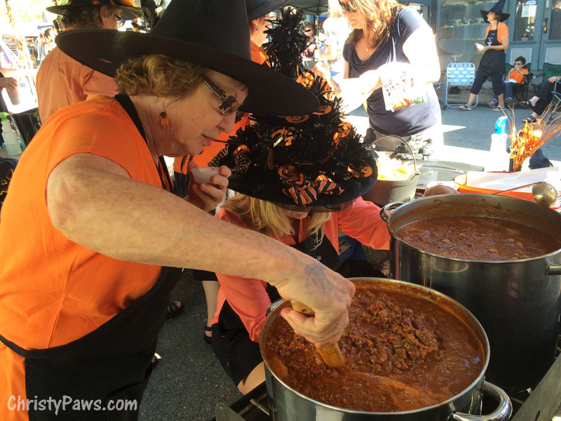 Pots of Chili Being Stirred - Saucy Sisters